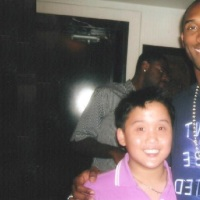DAVAO CITY'S CHRISTOPHER LAWRENCE GO AND SON CHRISTIAN LAWRENCE WITH NBA STARS KOBE BRYANT AND DERRICK ROSE