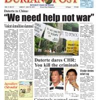Duterte to China:We need help not war