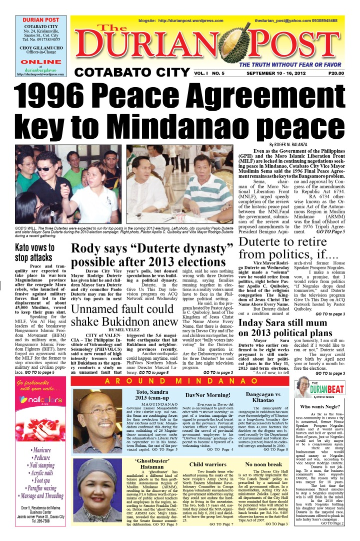 1996 Peace Agreement Key To Mindanao Peace The Durian Post By