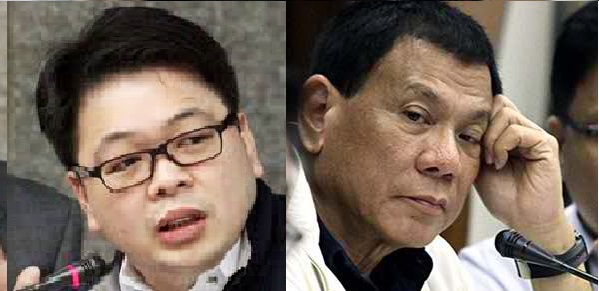 FACE-OFF. Davao City Mayor Rodrigo Duterte telsl to his face Davidson Bangayan that he is lying and that he is the suspected big-time rice smuggler David Tan during a Senate committee hearing on rampant rice smuggling in Philippine ports including the Davao port.