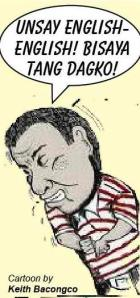cartoon duterte - unsay english by rogerb
