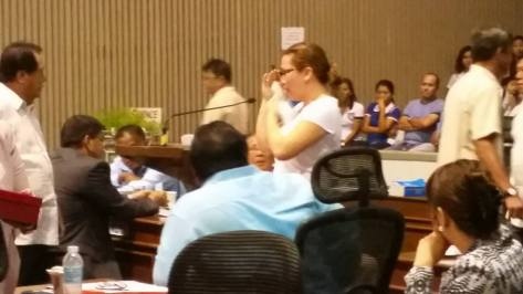KAT DALISAY IN TEARS ANSWERING QUESTIONS FROM MEMBERS OF THE DAVAO CITY COUNCIL SHE EARLIER CALLED AS  HYPOCRITES. photo by BOTConsultancy