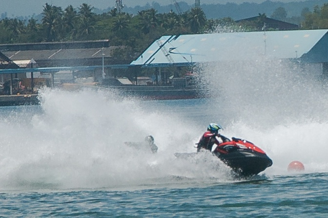 """Christopher """"Bong"""" Go in action during the awarding rites at the close of the 1st JSAD Invitational Jet-ski Racing Competition held August 30 and 31, 2014 at Sunset Beach in Samal."""