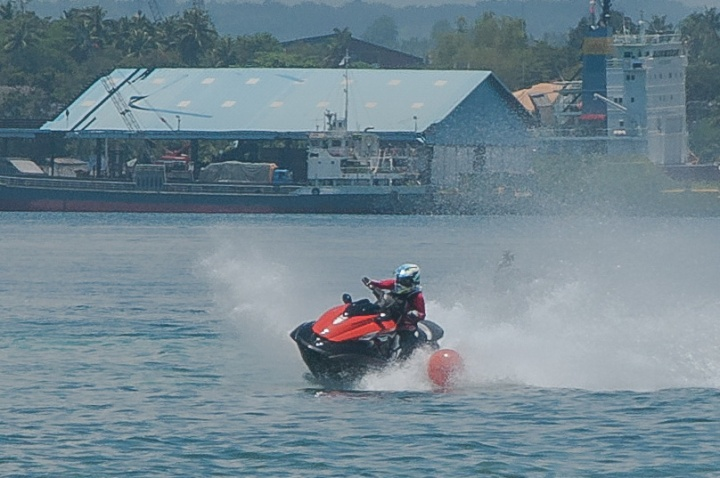 "Christopher ""Bong"" Go in action during the awarding rites at the close of the 1st JSAD Invitational Jet-ski Racing Competition held August 30 and 31, 2014 at Sunset Beach in Samal."