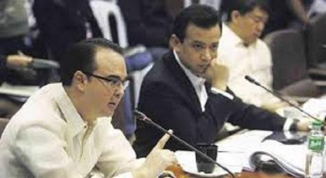 Senators Peter Cayetano, Antonio Trillanes and Koko Pimentel in the Senate Blue Ribbon subcommittee investigation on alleged corruption of Vice President Jejomar Binay.