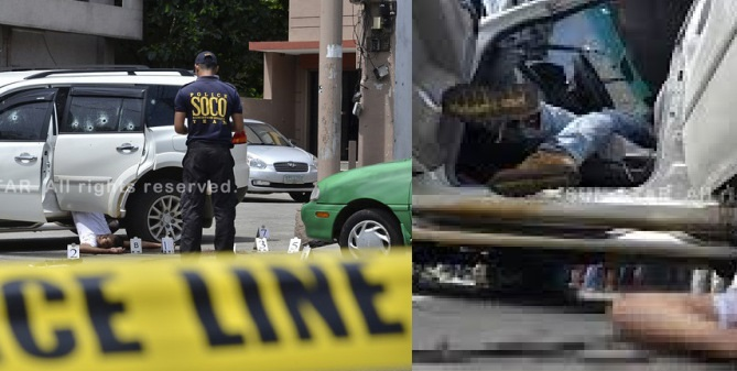 NOT IN OUR CITY.  Crime operatives examine the bodies of two suspected members of kidnap-for-ransom syndicate inside an SUV after they were killed during an entrapment operation following a payoff amounting to P15 million with their victim, Sally Chua at Allied Bank, C.M Recto street in Davao on Thursday, July 11, 2013.  Chua was kidnapped in Quezon City and was brought to Davao City by the kidnappers for the payoff. (Photo by King Rodriguez of Sun.Star Davao)