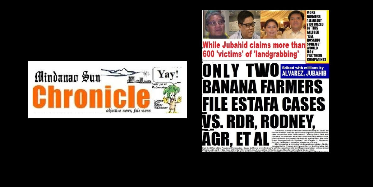 BANANA FARMERS BACK OUT OF JUBAHIB'S 'LAND-GRABBING' RAP VS. DEL ROSARIOS