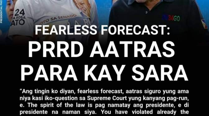 FEARLESS FORECAST: Duterte backing out from VP run for Inday Sara presidency in 2022