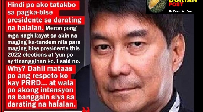 RUFFY TULFO: Wala akong intensyon banggain si Duterte